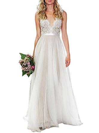 Women Sexy Lace Sleeveless Boho Wedding Dresses Plus Size Backless Long Bridal Gown Ivory B 22w