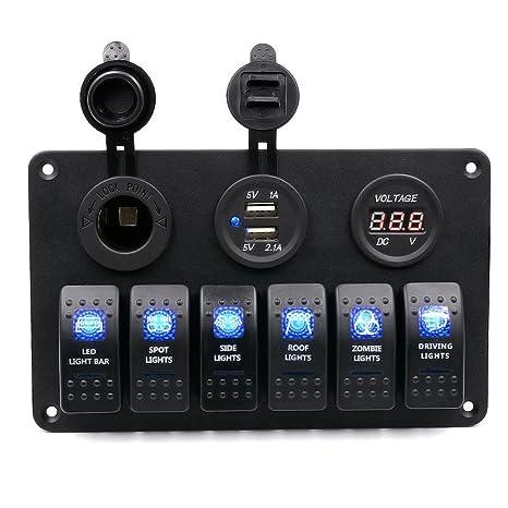 Hmlai Rocker Switches Digital 6 Gang Waterproof Car Auto Boat Marine  Protable LED Rocker Switch Panel Circuit Breakers