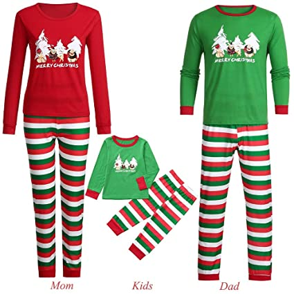 e7b386b769 Sinwo Matching Christmas Family Pajamas Cartoon Letter Print Top+Stripe Pants  Family Clothes Sleepwear (