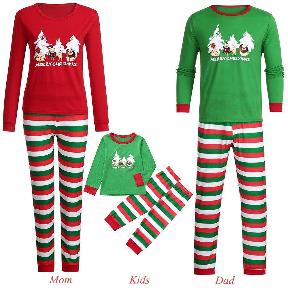 Milktea Ensemble Pyjama Noel Famille Père Noël Vêtements de Famille Mère Garçon Fille Nouveau-né Bébé Pyjamas à Deux Pièces Set Shirt à Manches Longue Top et Pantalon Renne Vêt