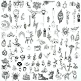 100PCS Mix Antique Silver Charm Pendant Collection, Vintage Jewelry Supply Lot, Jewelry Supply Wholesale, C08