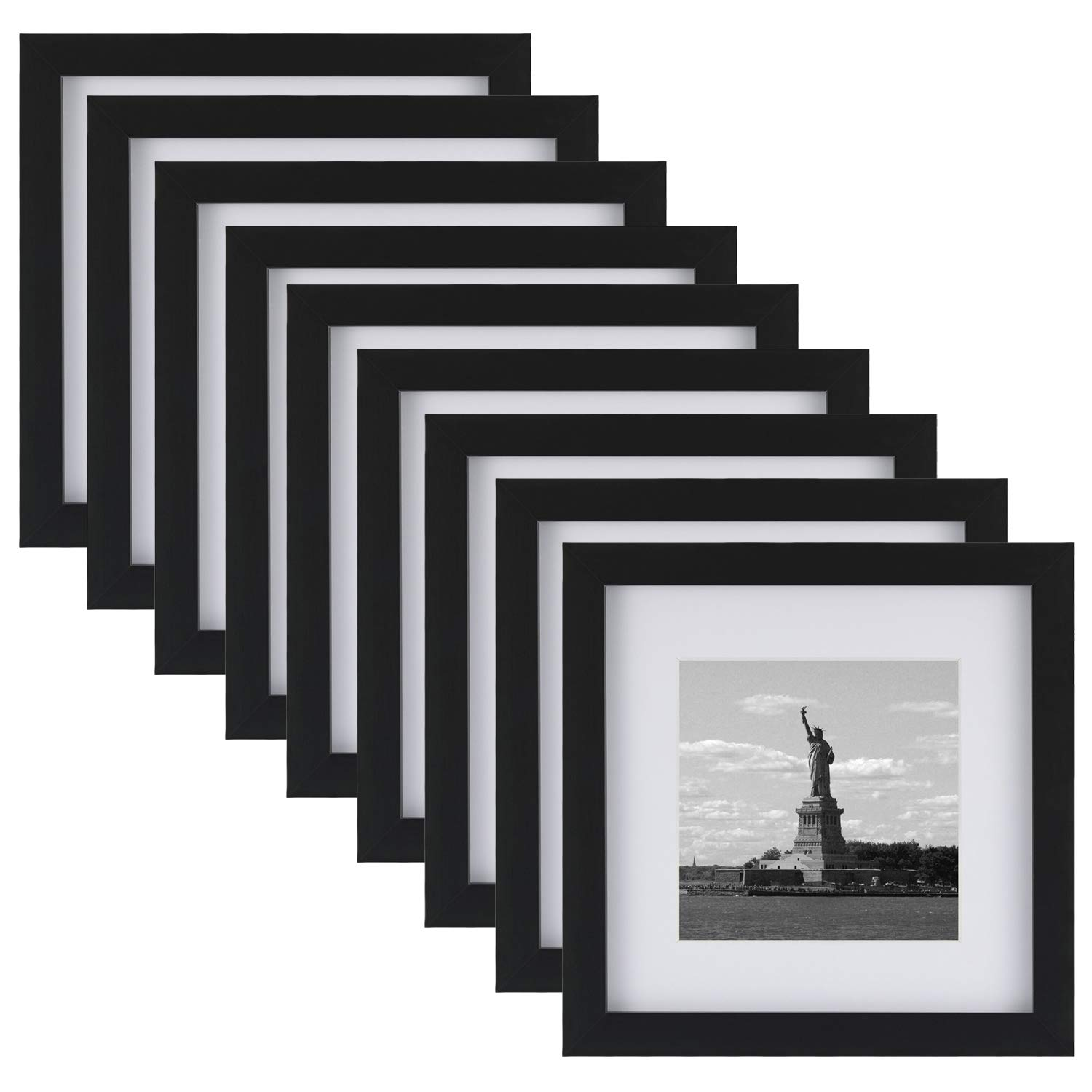 ONE WALL Tempered Glass 8x8 Picture Frame with Mats for 5x5, 4x4 Photo, Black Wood Frame for Wall and Tabletop - Mounting Hardware Included by ONE WALL