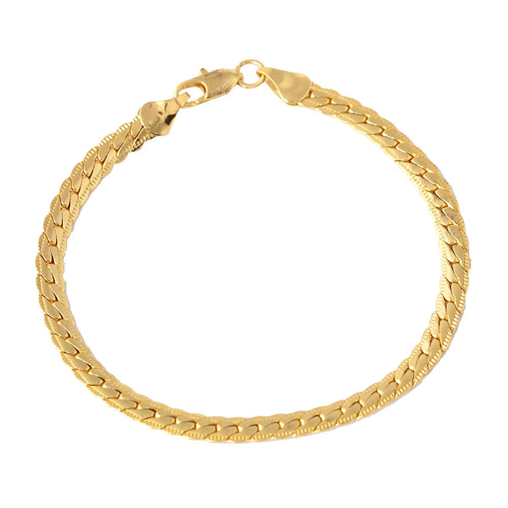 Hot Sale! OWMEOT Hip Hop Plated 18K Gold Stainless Steel Dragon Tag Chain Bracelet,8.0inches (Gold)