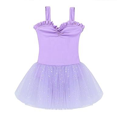 bb8f35d2f66 TiaoBug Enfant Fille Justaucorps de Danse Ballet Gym Tutu Robe de Danse  Classique Robe en Tulle