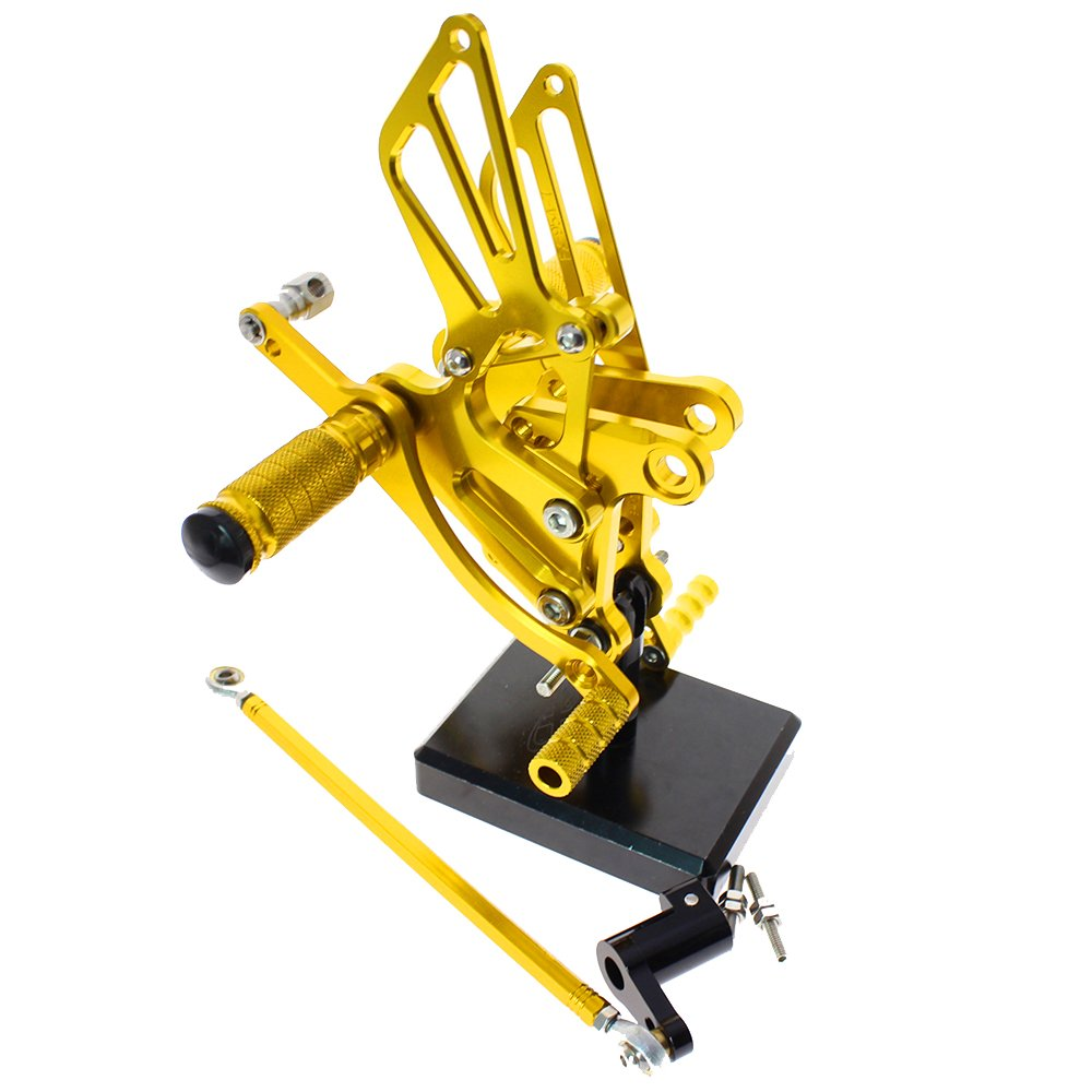 color tree Motorcycle Rearsets Rear Foot Pegs CNC Rear set Footrests Fully Adjustable Rear Foot Boards Fit for Honda CBR300RR/CBR250R 2010 2011 2012 2013 2014 Gold