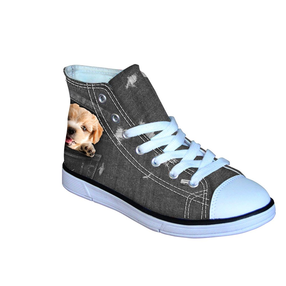 FOR U DESIGNS Sturdy Canvas High-top Shoes for Boys Girls Kids School Sports Sneakers Dog /& Cat Jean Walking Shoe