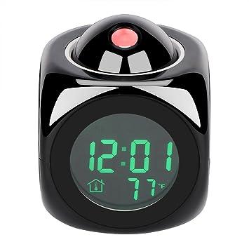Proyección Reloj despertador, Reloj despertador digital Cubo LED Reloj de escritorio Pantalla LCD con retroiluminación Soporte Hora actual Informe Horas ...