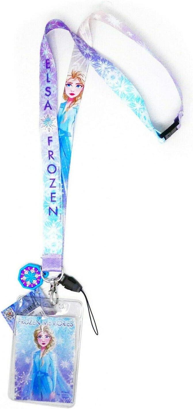 Disney Frozen Elsa Royal Blue Lanyard ID Ticket Badge Key Chain Holder Wallet
