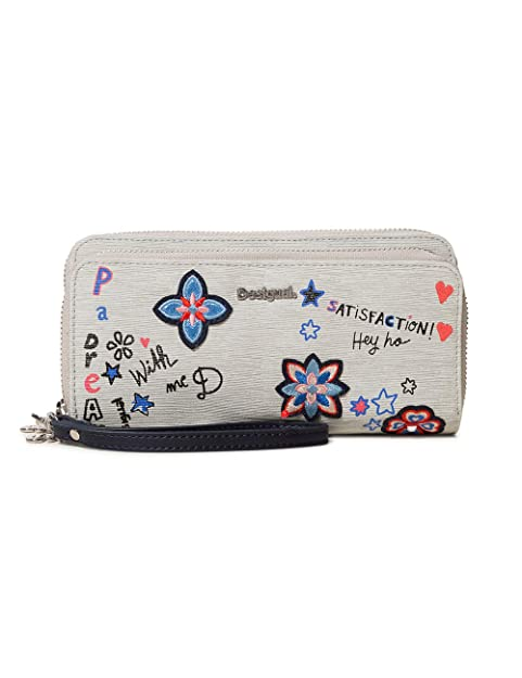 Desigual - Wallet Shibuya Two Levels Women, Carteras Mujer, Gris (Gris Fresh)