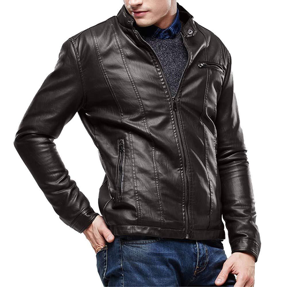 Dacawin Men Winter Leather Jacket Biker Motorcycle Zipper Plus Velvet Slim Solid Color Outwear Coat by Dacawin