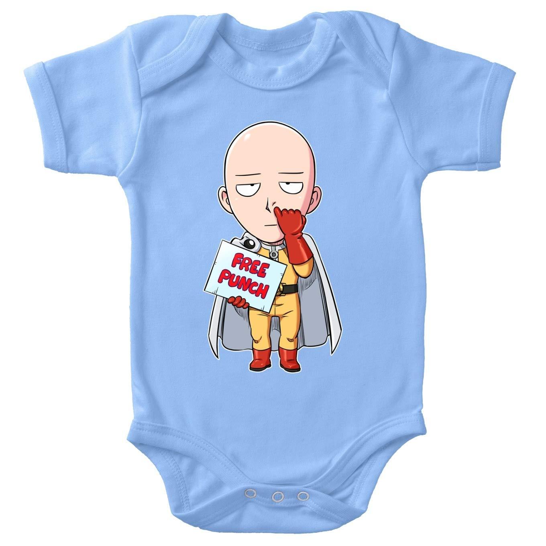 Saitama One-Punch Man Parodie Ref:1049 Okiwoki One-Punch Man Lustiges Blau Baby Strampler