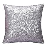 IRENE Home Decor Cushion Covers Solid Color Silver Glitter Sequins Throw Pillow Case Cafe (Silver)