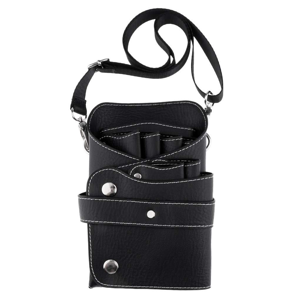 B Blesiya Soft PU Leather Scissor Holster Hairdressing Bag Pouch Hair Cutting Tools Storage Holder Carry Case with Adjust Waist Shoulder Belt for Barber Stylist - Black, 20x12 cm