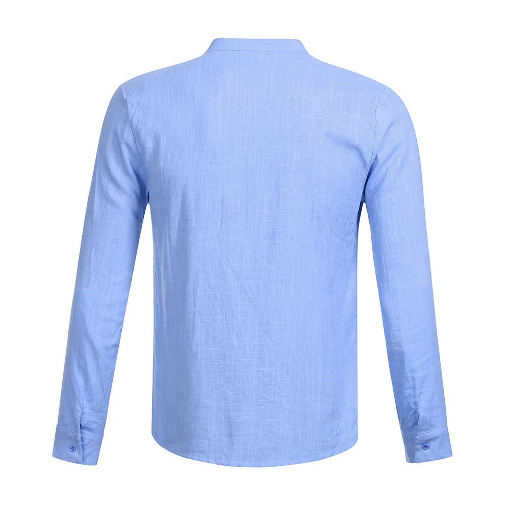 POLPqeD Uomo Top Fitness Magliette da Uomo,Casual Slim Fit Manica Lunga T-Shirt Solid Color Camicetta in Cotone Primavera Top