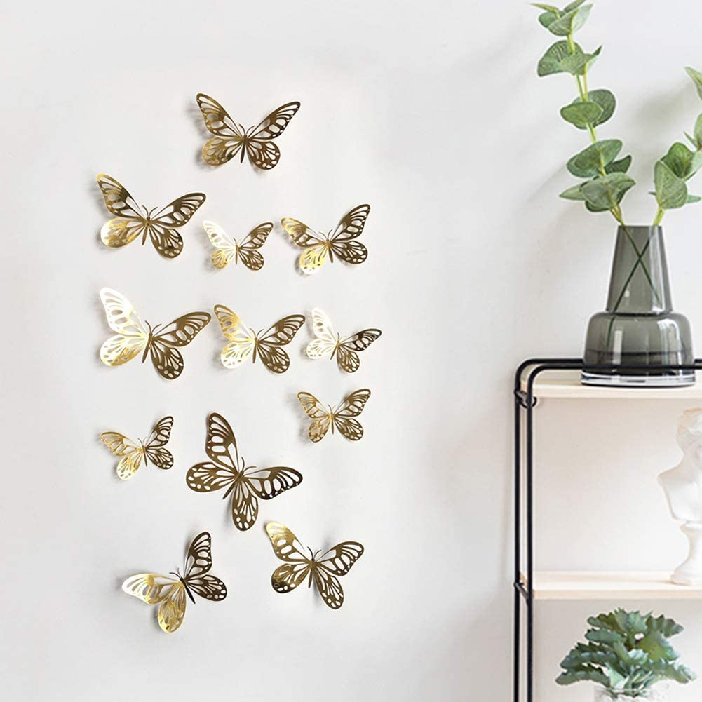 24 Pcs 3D Butterfly Wall Sticker Man-Made Lively Butterfly Nursery Decoration 3D Crafts for Wall Art Kids Room Bedroom (Gold)