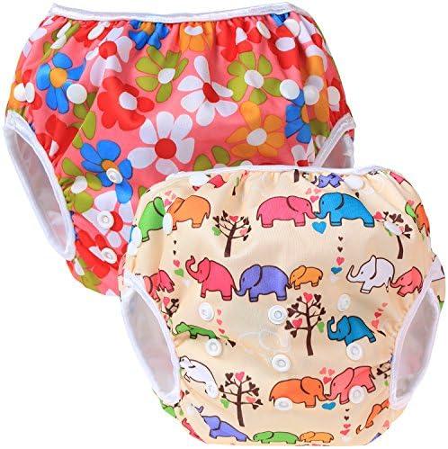 Teamoy 水遊びパンツ 2点セット 0-3歳 赤ちゃん用 ボタンでサイズ調整可能 防水外層 ポリエステルメッシュ内層 オムツカバー スイミング教室・公園・海水浴・温泉旅行(花ピンク+象)