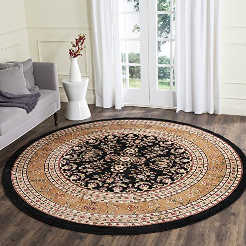 Safavieh Lyndhurst Collection LNH331D Traditional Oriental Black and Tan Round Area Rug (8' ()