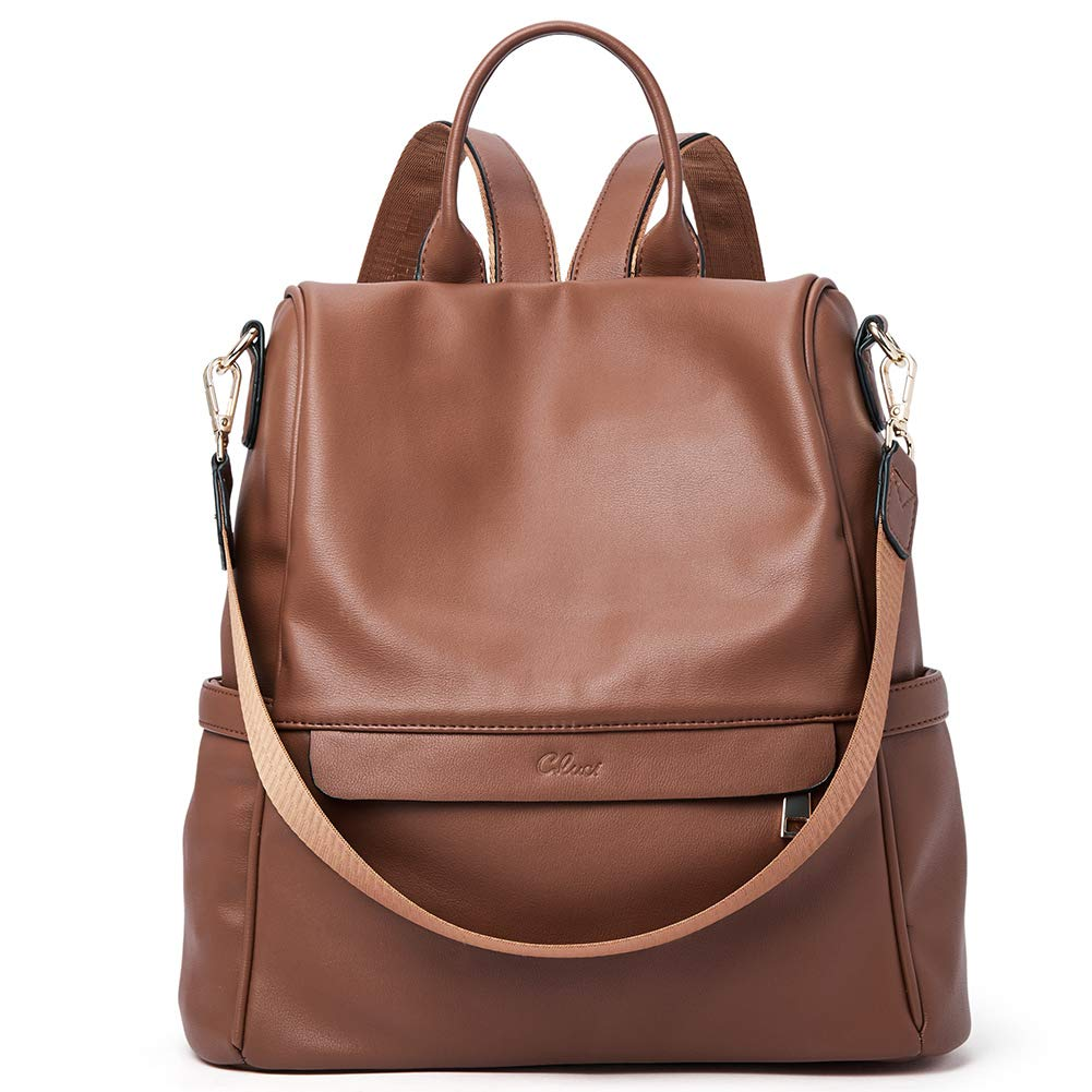 Women Backpack Purse Fashion Leather Large Travel Bag Ladies Shoulder Bags Brown by CLUCI