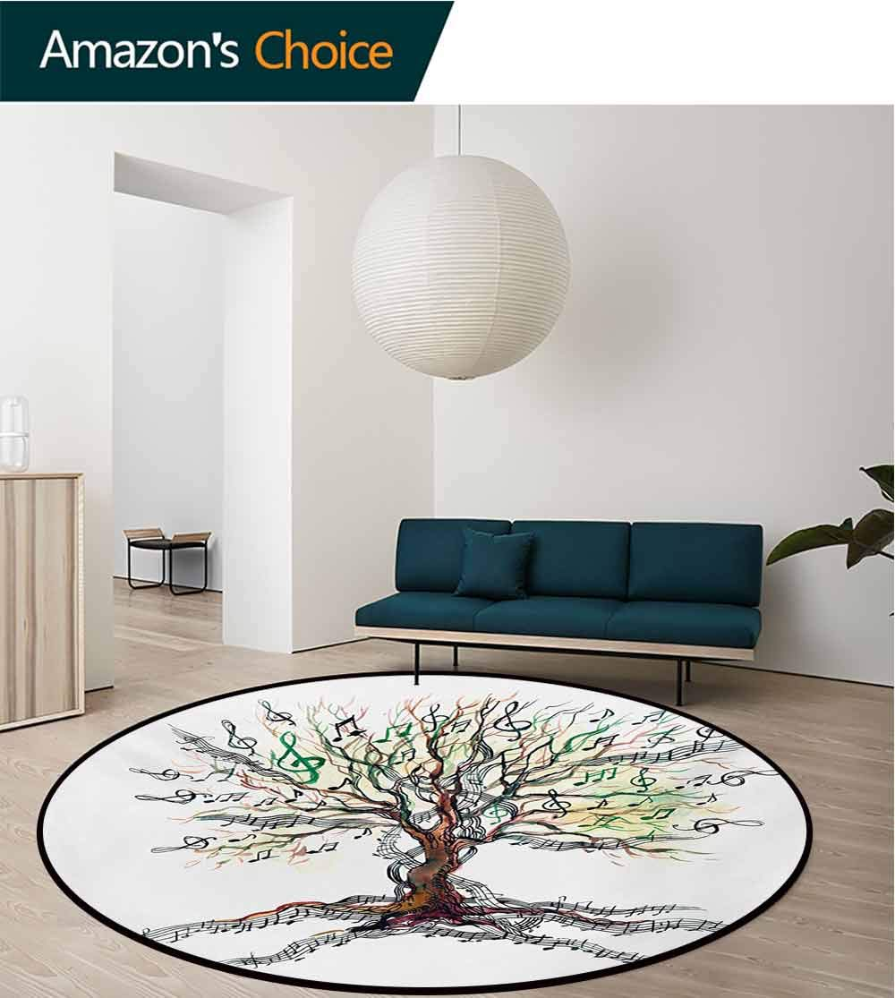 RUGSMAT Music Small Round Rug Carpet,Musical Tree Autumnal Clef Trunk Swirl Nature Illustration Leaves Creative Design Door Mat Indoors Bathroom Mats Non Slip,Diameter-71 Inch Multicolor