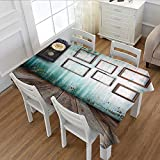 Davishouse Clock Patterned Tablecloth A Vintage Clock and Empty Picture Frames in an Old Room Wooden Backdrop Print Dust-proof Oblong Tablecloth Green and Brown 60''x84''