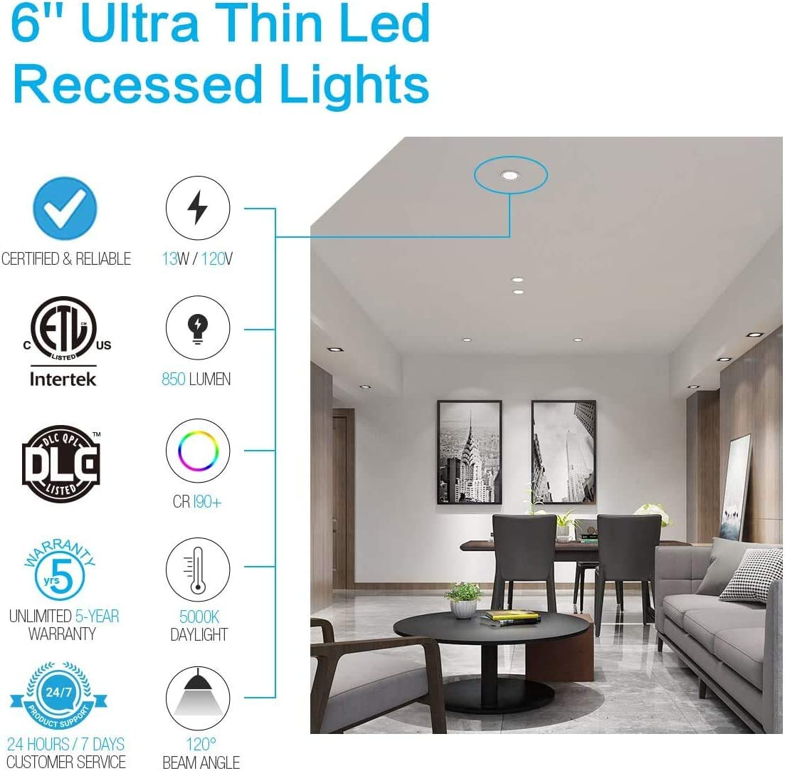 850lm 110W Eqv 3000K Daylight Dimmable ETL /& Energy Star Certified Ultra Thin Ceiling Downlight with Junction Box 4 Pack SAATLY 13W 6 inch LED Recessed Lighting