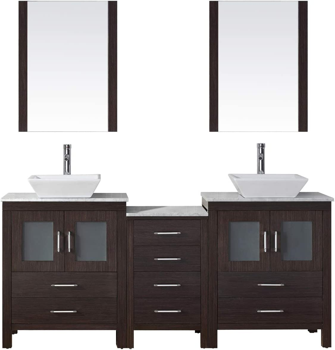 Virtu Usa Kd 70066 Wm Es 001 Dior 66 Double Bathroom Vanity Marble Top And Square Sink With Brushed Nickel Faucet And Mirrors 66 Inches Dark Espresso Amazon Com