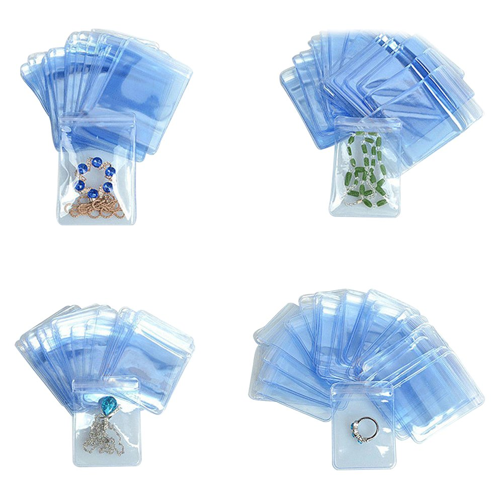 400 Pcs PVC Jewelry Anti-Oxidation Resealable Packaging Bag Reusable Plastic Clear Zip Lock Jade Pearl Pouch Crafting Tool Organizers Grip Seal Nuts Sample Food Pack 11.3x11.3cm(4.4X4.4inch) by BAT Pack