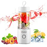 Portable Blender Vitamer Personal Fruit Mixer six Blades with USB Rechargeable for for Smoothies, Milkshake, Fruit Vegetables Drinks 15 oz 350ml (White)