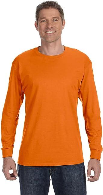 Hanes 5586 Camiseta sin mangas larga sin mangas para hombres, 1 naranja + 1 gris humo 3XL