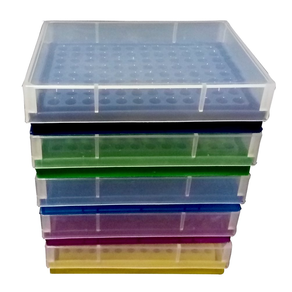 PUL FACTORY Plastic 96-Well PCR Rack for 0.2ml Micro Centrifuge tube, Assorted colors, Pack of 5 by PUL FACTORY