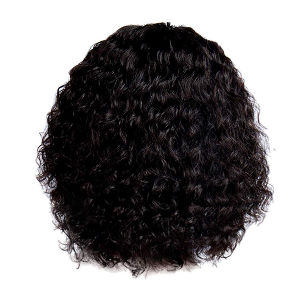 Wig,SUPPION 14inch Lace Front Full Wig Short Wave Black Natural Looking Women Synthetic Wigs - Cosplay/Party/Costume/Carnival/Masquerade (A)