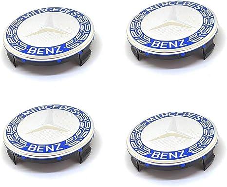 Lot de 4 centres de roue en alliage chrom/é et bleu de 75/mm eMarkooz pour roues Mercedes Benz