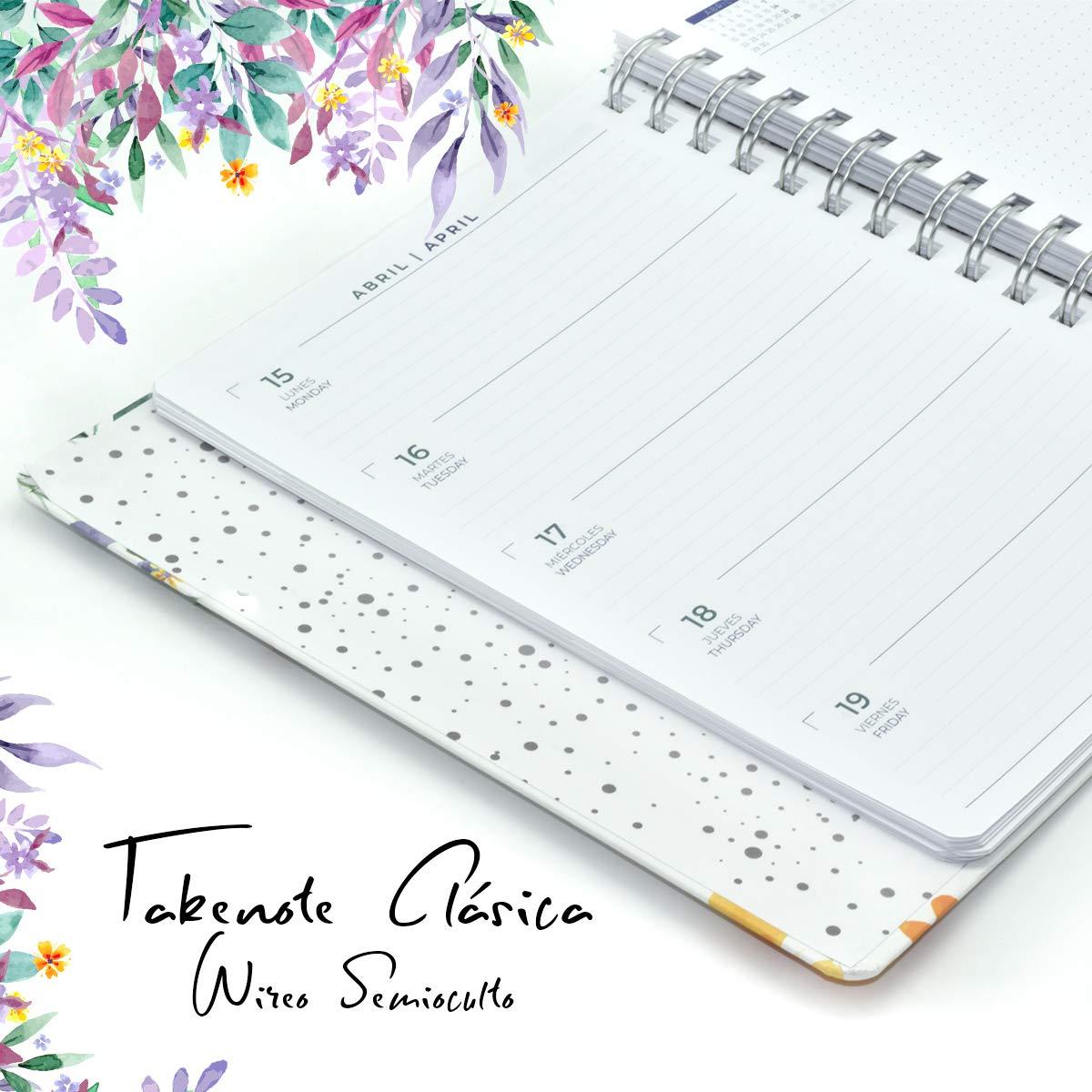 Agenda 2019 - Takenote Flores- Encuadernación Wire-o semi-oculto - Semana Vista - Tamaño 16,5x22