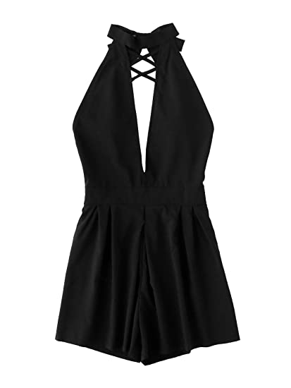 2f0a65777e8 Romwe Women s Plunge V-Neck Backless Sleeveless Halter Jumpsuit Romper Black  M