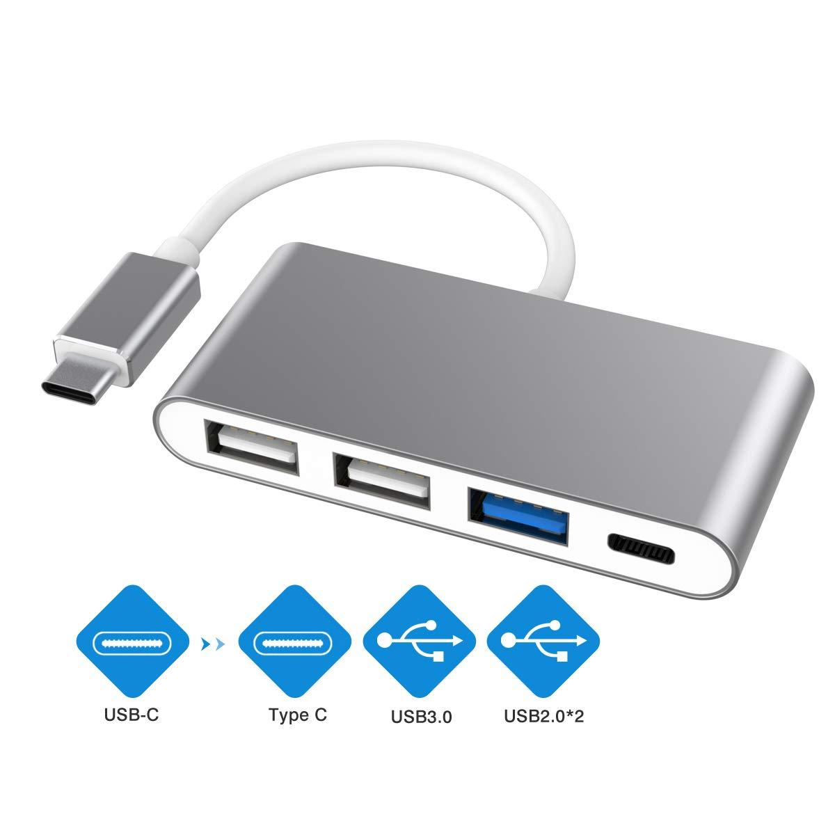 USB C Hub, USB Type C to USB3.0 Adapter, Type C Hub USB3.0 & 2USB2.0 & Type C Female Charging Port, Multi-Port USB C to USB OTG Data Adapter for ChromeBook Pixel/Dell XPS and More
