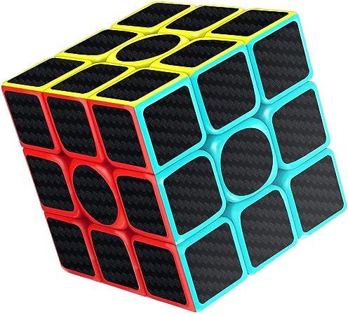 AimdonR Rubix Cube Speed Cube - Pegatinas de fibra de carbono lisas (3 x 3 x 3 cm), diseño de cubo de velocidad: Amazon.es: Hogar