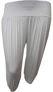 Womens Black Cross Print Detail Plus Size Leggings Harem Palazzo Pants 12-30