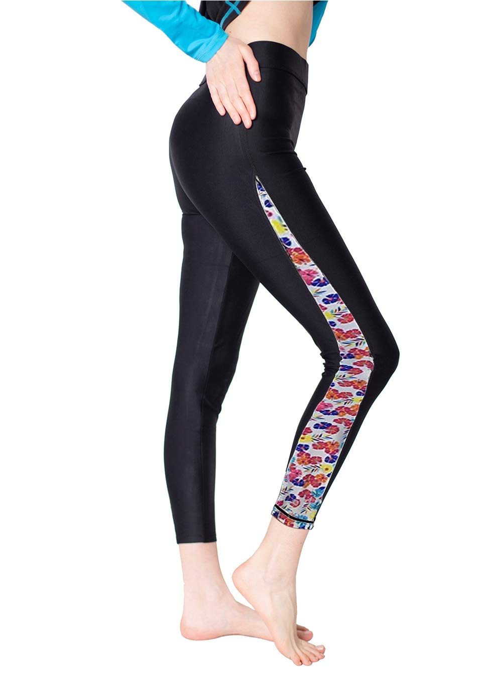 Surfing Leggings Women Swim Tights for Surfing Floral-1 M