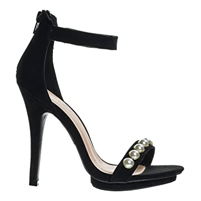 934968bb96 Amazon.com | Wild Diva Pearl High Heel Stiletto Dress Sandal, Women Open Toe  Platform Shoe | Heeled Sandals