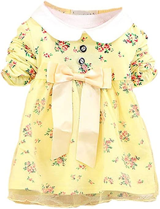 Kids Toddler Baby Girl Long Bell Sleeve Lace Floral A-line Mini Dress with Bowknot
