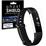 TECHGEAR [4 Pack] Screen Protectors to fit Fitbit Alta HR [ghostSHIELD Edition] Genuine Reinforced Flexible TPU Screen Protector Guard Covers with Full Screen Coverage inc Curved Screen