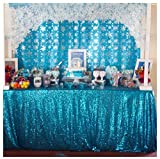QueenDream 60'x102' Aqua blue Sparkly Elegant Shimmer Wedding and Party Sequin Glitz Tablecloth