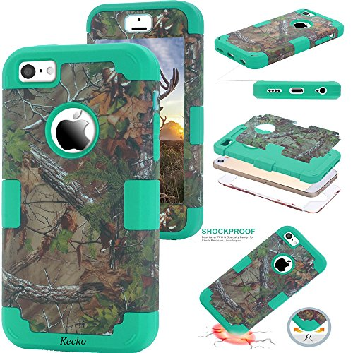 iPhone SE Camo Case,Kecko Dual Layer Heavy Duty Tree Camo Shockproof Impact Resistant Military Grade Rugged Hybrid Body Protective Case for iPhone 5s/5