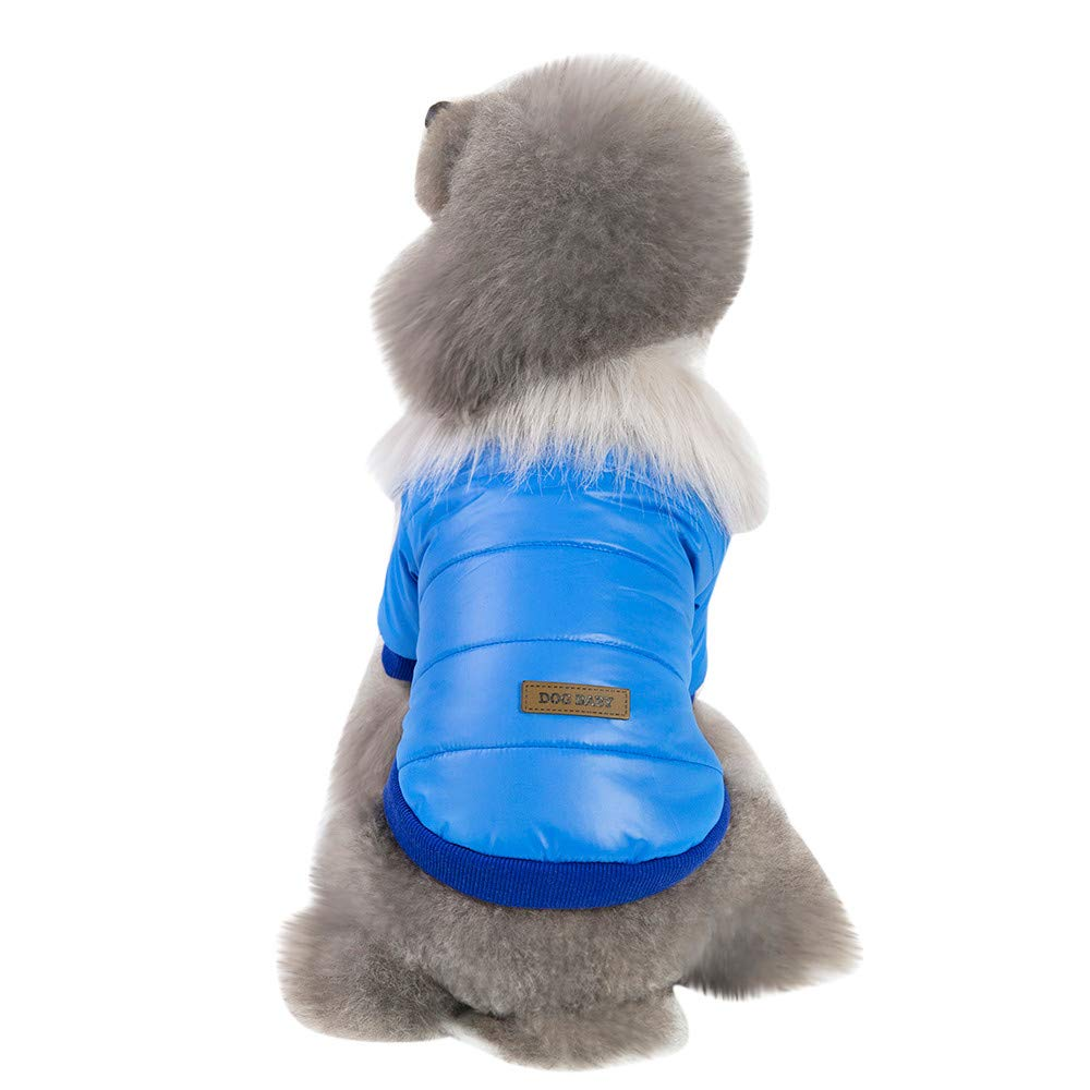 bluee XXL bluee XXL Anglewolf Cat Dog Coat Jacket Pet Supplies Clothes Winter Apparel Puppy Costume Cotton Vest Sweater T Shirt Warm Hooded Fleece For Small Medium Large Autumn Clothing(bluee ,XXL)