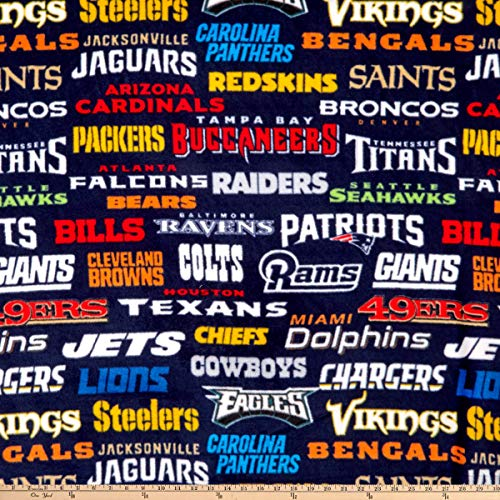 - Fabric Traditions NFL Fleece Allover Teams Fabric, Multicolor, Fabric By The Yard