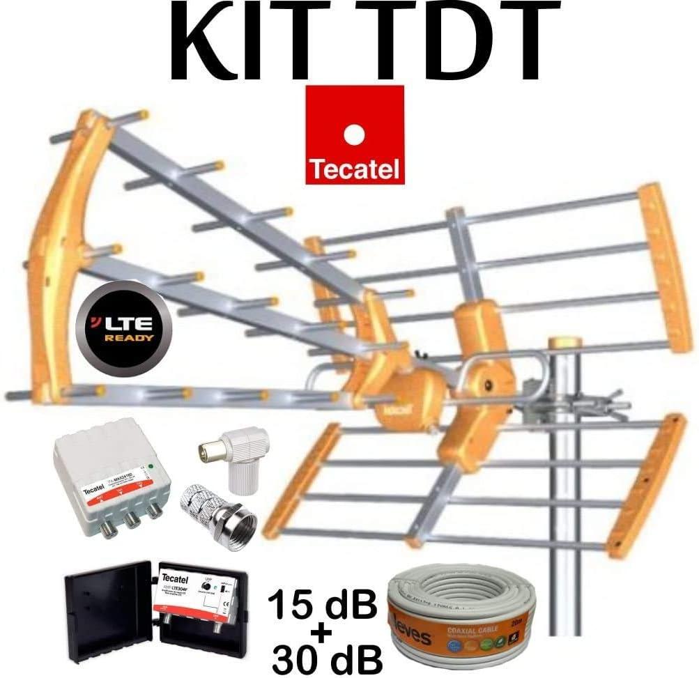 Kit Antena TECATEL BKM-15 Naranja + Rollo Cable TELEVES DE 20MT + Conjunto Amplificador Y FUETE TECATEL AMP-LTE304L (700Mhz, 5G) Y FUETE FA-MAX 24160 Y Conectores