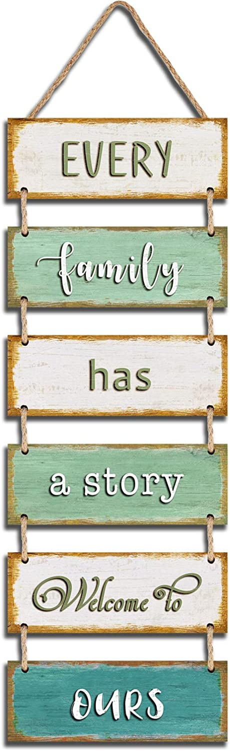 "Jeune Decor Large Rustic & Vintage Vertical Wooden Wall Hanging Sign for Home Decoration with a Quote(Every Family has a Story Welcome to Ours). 11.75"" x 32"""