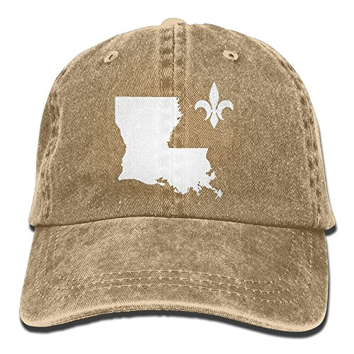 UCOOLE Louisiana Map with Fleur De Lis Symbol Dad Hat Adjustable Denim Hat Classic Baseball Cap