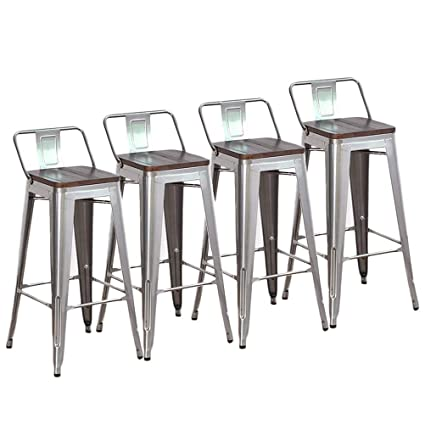 Enjoyable Dekea 30 Inch Bar Stools Counter Height With Wooden Top Seat Metal Stool Set Of 4 For Kitchen Or Indoor Outdoor Barstools Low Back Silver Gamerscity Chair Design For Home Gamerscityorg