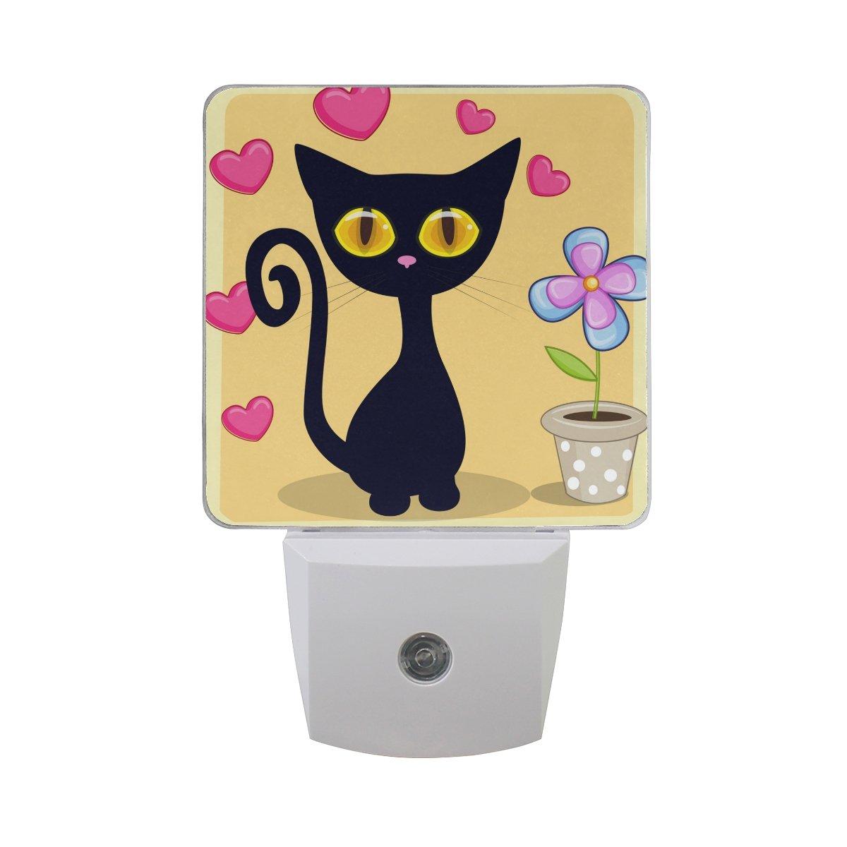 プラグインLED夜ライトランプブラック子猫とハートと花印刷with Dusk to Dawnセンサーのベッドルーム、バスルーム、廊下、階段、2 pack-0.5 W B07CVDP6R5